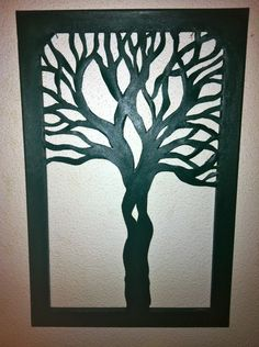 Tree Silhouette Canvas Cut Out x Made. via Etsy. Tree Canvas, Canvas Paper, Canvas Art, Paper Art, Disney Castle Silhouette, Tree Silhouette, Diy Wall Art, Diy Art, Cut Out Canvas