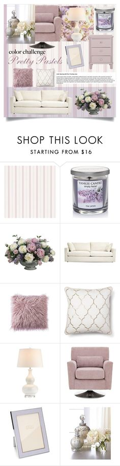 """Color Challenge: Pretty Pastels"" by sarah-09013112 ❤ liked on Polyvore featuring interior, interiors, interior design, home, home decor, interior decorating, Yankee Candle, Allstate Floral, Addison Ross and John-Richard"