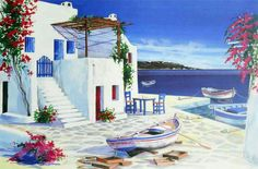 Painting By André Savy Watercolor Landscape, Landscape Art, Landscape Paintings, Watercolor Paintings, Greece Painting, Affordable Art, Beach Art, Beautiful Paintings, Santorini