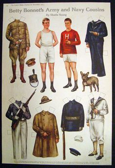 1917 Betty Bonnet's Army and Navy Cousins Cut Out Paper Dolls French Bull Dog | eBay