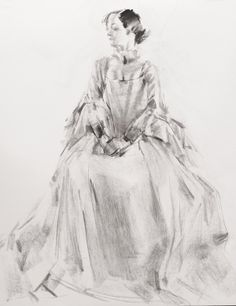 "20120213 - 18TH CENTURY COSTUME STUDY  Drawing, Charcoal on Paper, 24.0""h x 18.0""w $70"