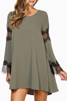 Black Lace Spliced Long Sleeve Dress