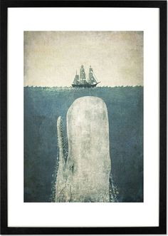 White Whale by Terry Fan, 30 x 42cm (A3) Framed Print from Made.com. Green. Award-winning illustrator, Terry Fan, finds inspiration in storybooks. T..