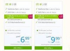 WinSim: Zwei GByte LTE-Flat, Allnet-Flat und SMS-Flat für 6,99 Euro https://www.discountfan.de/artikel/tablets_und_handys/winsim-zwei-gbyte-lte-flat-allnet-flat-und-sms-flat-fuer-6-99-euro.php WinSim bleibt auch im Juni mit seinen E-Netz-Tarifen Spitze: Für 6,99 Euro im Monat erhält man eine Allnet-Flat, eine SMS-Flat und zwei GByte LTE-Datenvolumen pro Monat. Der Tarif ist wahlweise monatlich kündbar oder an einen Zweijahresvertrag gebunden. Der Tarif LTE All 2 GByte b