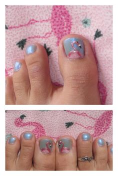 Flamingo Nail art!  Love the Florida Flamingos!!!