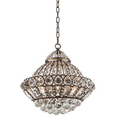 """Wallingford 16"""" Wide Antique Brass and Crystal Chandelier ($400) found on Polyvore"""