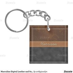 Masculine Digital Leather and Suede Belted Custom Single-Sided Square Acrylic Keychain
