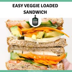 This Easy Veggie Loaded Sandwich uses hummus, cheese, and a variety of fresh vegetables for the perfect work-from-home lunch. Simple to throw together and fresh tasting, it will keep you full until your next eating break without weighing you down. #healthyeating #lunchideas #recipe #easyrecipe #sandwich Lunch Recipes, Vegetarian Recipes, Dinner Recipes, Healthy Recipes, Healthy Weeknight Dinners, Easy Meals, Fresh Vegetables, Veggies, Meal Ideas