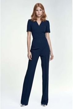 Dark Blue Elegant Short Sleeves Jumpsuit #modasto #giyim #moda https://modasto.com/coco-fashion/kadin/br37250ct2