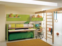 elegant playful kids decoration with wooden stairs stand on floor as well green bunk bed idea also brown rug on wooden floor including sall study table beside bed and green floating shelves above bed