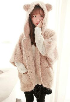 Image of  [grzxy6600433]Warm Women's Cute Lovely Bear Hood Batwing Sleeve Fleece Coat