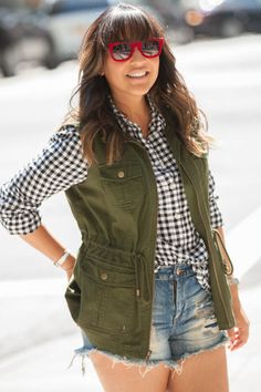 Looking for a summer staple? Head to Target for an olive green vest. The utilitarian piece goes with everything. Wear it with a gingham shirt, jean shorts, white sandals and red shades like @fabulatina. http://fabulatina.com/2015/07/20/olive-is-the-new-neutral-by-targetstyle/