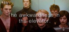 awkward elevator.. hahaha in all its twilight geekness they toss in an awkward elevator scene.