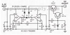 Here are some of to DC converter circuits that can be used to convert a small voltage of about 6 volts to a higher voltage of 12 volts but ofcourse Dc Dc Converter, Voltage Converter, Reverse Parking, Stereo Amplifier, Voltage Regulator, Circuit Diagram, High Voltage, Circuits, Diy Electronics