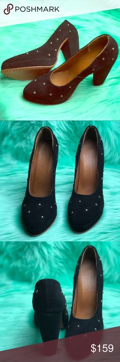 Rachel Comey Bixel Heel with Silver Studs Gently loved on soles (as shown in photo). Suede is in excellent condition and no missing studs. No box 📦No dust bag 🚫 No receipt 🛍 ask questions before placing offer. Open to negotiate, bid below⬇️⬇️⬇️ or link above in bio⬆️⬆️⬆️⬆️ Rachel Comey Shoes Heels