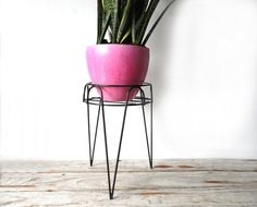 Modern Metal Hairpin Plant Stand  http://www.etsy.com/listing/79329946/modern-metal-hairpin-plant-stand