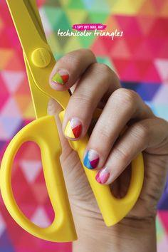 NAIL ART   Technicolor Triangles - I Spy DIY