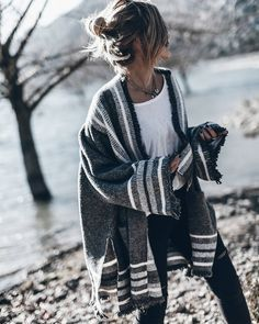 I love oversized sweaters like this.  The color and stripes are neutral but not boring