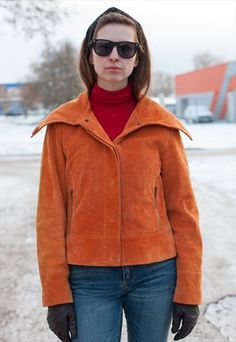 womens orange vintage leather suede jacket