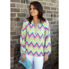 Sweet Nothing-Stay stylish at work this season in this adorable long sleeve chevron blouse! Our model is 5'4, and is wearing a small.