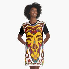 Mustard Brown Tribal African Mask by kenallouis | Redbubble Creative T Shirt Design, Tee Design, Culture T Shirt, Creative Birthday Gifts, Tribal African, Cool Graphic Tees, African Masks, African American Art, Illustration Artists
