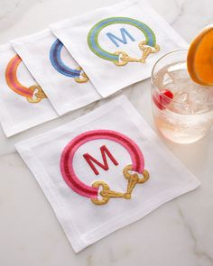 iomoi cocktail napkins...so many patterns and fun monograms, can I get one of each? Please?