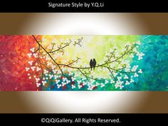 "Abstract painting Heavy Texture Palette Knife Tree Flower Love Birds Office Wall Art ""Colours of Love"" by QIQIGALLERY"