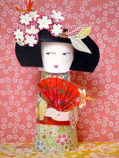 Diy : paper toy kokeshi