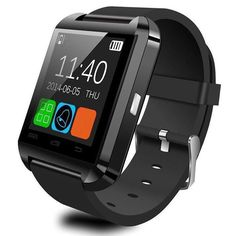 """Alloet New U8 Bluetooth Smartwatch Wrist Watch for IOS Antroid Phones (Black). 1.48"""" Capacitive Touch Screen TFT LCD, With QQ, wechat,time, schedule, Stopwatch, read message or news function, Support hands-free calls. Time / Date / Week / Battery state display, Answer or Dial calls from your wrist, Ringing reminder when you receive a call. Display the number or name of incoming calls, Play the music in your phone (after Bluetooth paring), Ringing reminder once your mobile phone…"""