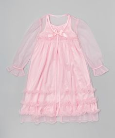 Another great find on #zulily! Pink Ruffle Robe & Nightgown - Toddler & Girls #zulilyfinds