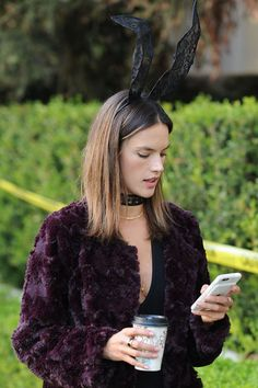 Halloween Bunny! Alessandra Ambrosio wears a revealing jumpsuit and bunny ears as she goes trick or treating with her family, LA. • Celebrity WOTNOT --------------- For further information on these stories and images please visit www.celebritywotnot.com. These Images are ©Atlantic Images. No use without permission.