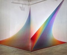 design-dautore.com: Colored Thread Installations by Gabriel Dawe