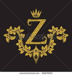 #Golden #glittering #letter Z #monogram in #vintage style. #Heraldic coat of arms with halftone effect. #Baroque #logo template.