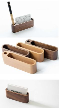 Wooden Business Card Holder Build in Pen Pencil Holder Stand Office Desk Organizer
