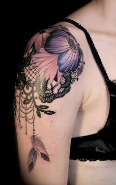 Stunning shoulder piece- pink and purple flowers over black lace.