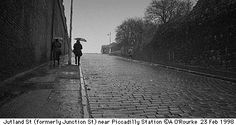 Drizzly Jutland Street Manchester captured on black and white Ilford film in 1998 by Eyewitness in Manchester. Manchester Uk, Urban Landscape, Country Roads, Black And White, Film, Street, Places, Photography, Movie