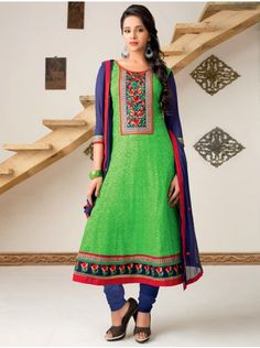 Green Cotton Suit With Resham Embroidery And Print Work