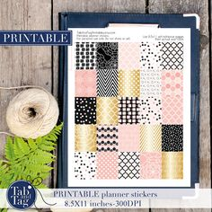 Your place to buy and sell all things handmade Printable Planner Stickers, Printable Tags, Printables, Planner Tips, Erin Condren, Black Gold, Boxes, Handmade Gifts, Pink