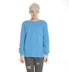 Men Long Sleeve Blue Sweatshirts 60% cotton polyster