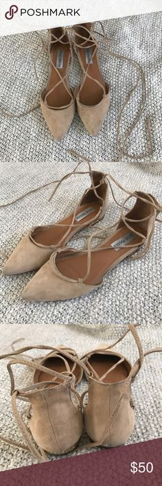 Ballerina flats! These neutral lace up flats are amazing. They look super chick with any outfit! They are suede and are in need of a cleaning. I used them maybe three times max. Steve Madden Shoes Flats & Loafers