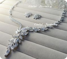 Super Luxury Silver-Plated Dropping Flower Cubic Zirconia Diamond Crystal Bridal Wedding Costume Jewelry Sets For Brides (T048)