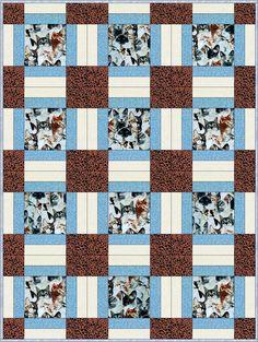 Beautiful Cats Blue Pre-Cut Quilt Blocks Kit from Quilt Kit Shop