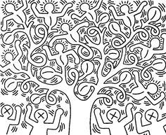 Coloriage adulte Keith Haring: L'arbre de vie