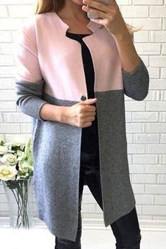 Stylish Jewel Neck Long Sleeve Color Block Wool Coat For Women