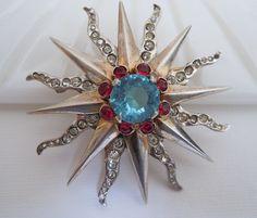 Collectible Signed REJA Sterling Silver Rhinestone Sunburst Brooch Pin Pendant