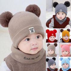 cc3ec5a69c11b Toddler Kids Girl Boy Baby Infant Winter Crochet Knit Hat Beanie Cap With  Scarf