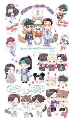 "EXO // ""CBX"" sticker set Kpop Fanart, Baekhyun Fanart, K Pop, Chanyeol, Exo Cartoon, Exo Stickers, Exo Anime, 5 Years With Exo, Exo Fan Art"