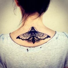 moth below neck tattoo - Google Search