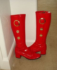 9ffa4a5293c Vintage 1960s Mod Lipstick Red Vinyl Go Go Boots