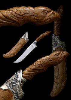 Carved knife handles
